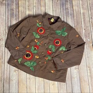 Tapestry Patch Embroidered Floral Jacket Size M